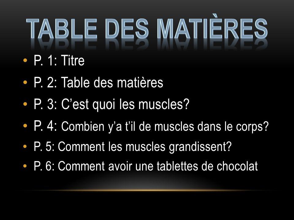P.1: Titre P. 2: Table des matières P. 3: Cest quoi les muscles.