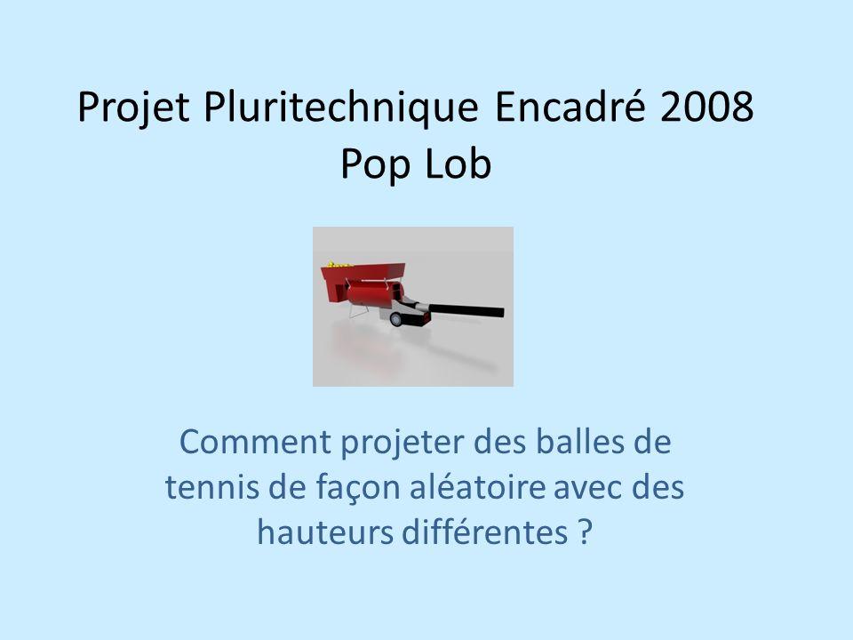 Projet Pluritechnique Encadré 2008 Pop Lob Comment projeter des balles de tennis de façon aléatoire avec des hauteurs différentes ?