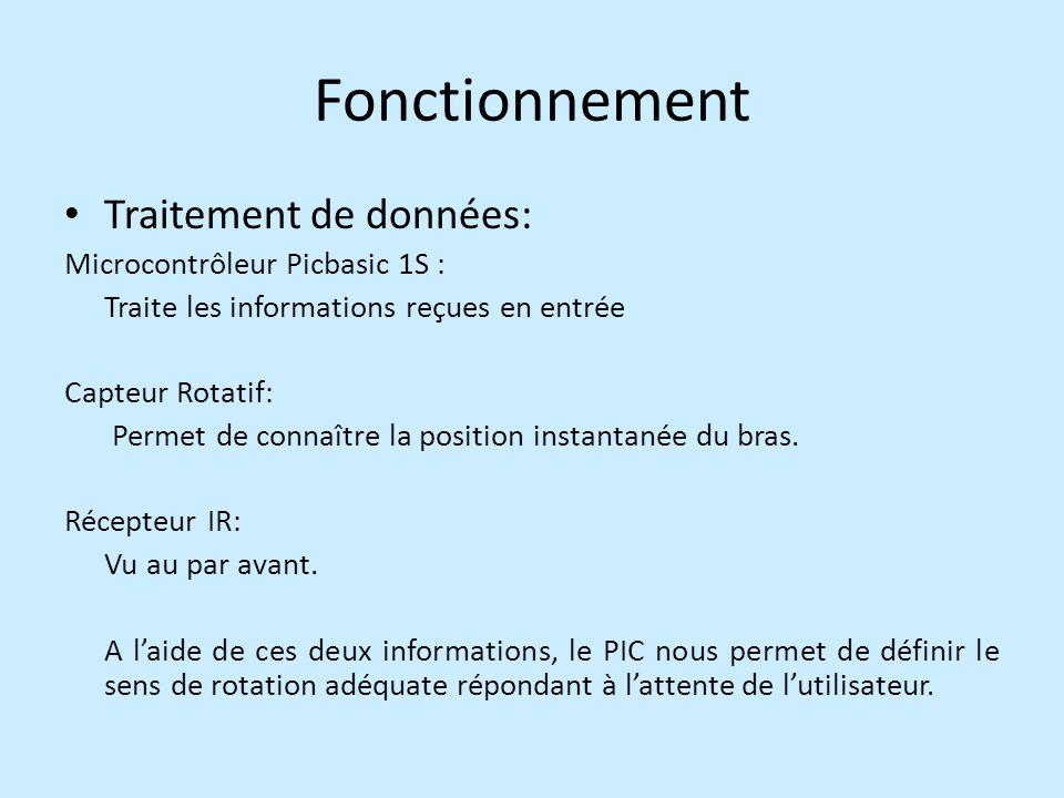 Fonctionnement Traitement de données: Microcontrôleur Picbasic 1S : Traite les informations reçues en entrée Capteur Rotatif: Permet de connaître la position instantanée du bras.