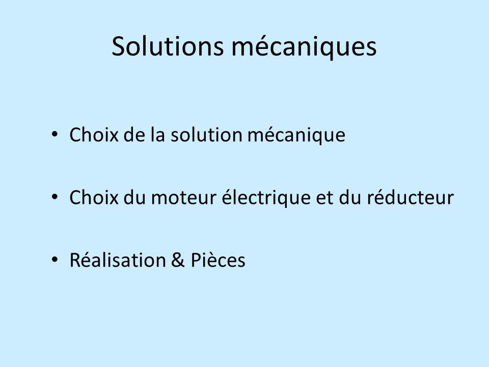 Solutions mécaniques Choix de la solution mécanique Choix du moteur électrique et du réducteur Réalisation & Pièces