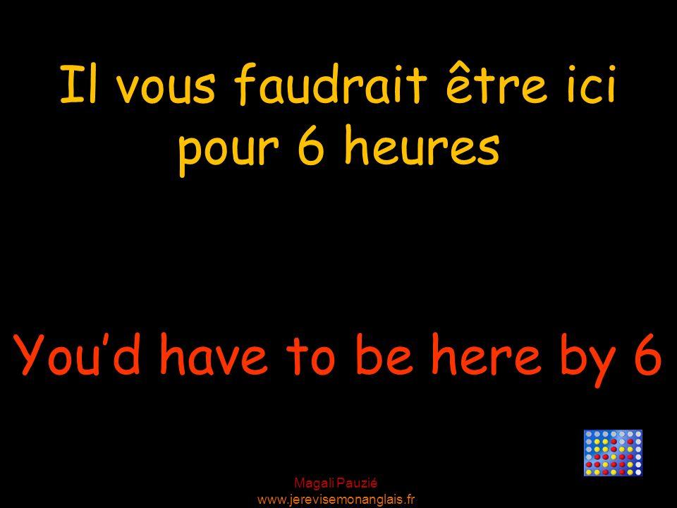 Magali Pauzié www.jerevisemonanglais.fr Youd have to be here by 6 Il vous faudrait être ici pour 6 heures