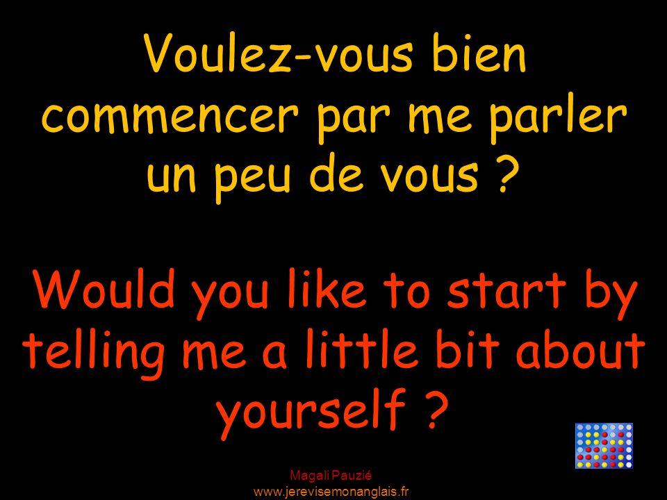 Magali Pauzié www.jerevisemonanglais.fr Would you like to start by telling me a little bit about yourself ? Voulez-vous bien commencer par me parler u