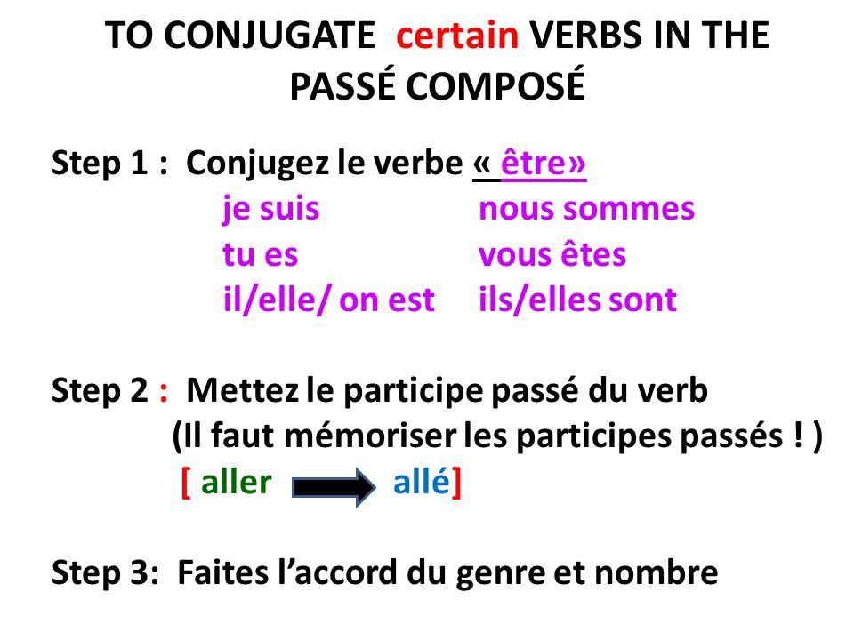 TO CONJUGATE certain VERBS IN THE PASSÉ COMPOSÉ Step 1 : Conjugez le verbe « être» je suis nous sommes tu es vous êtes il/elle/ on est ils/elles sont Step 2 : Mettez le participe passé du verb (Il faut mémoriser les participes passés .