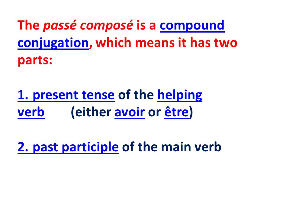 In English the past participle is formed in several ways.