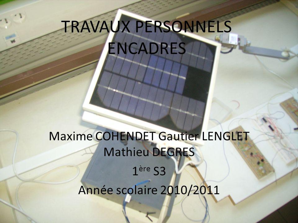 TRAVAUX PERSONNELS ENCADRES Maxime COHENDET Gautier LENGLET Mathieu DEGRES 1 ère S3 Année scolaire 2010/2011