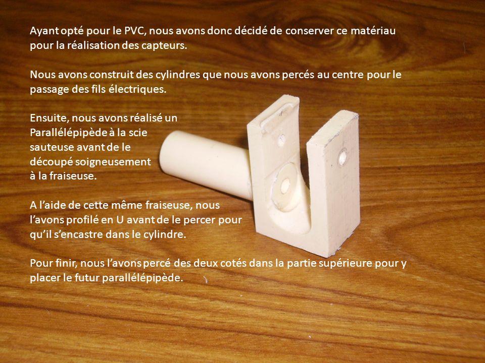 Ayant opté pour le PVC, nous avons donc décidé de conserver ce matériau pour la réalisation des capteurs. Nous avons construit des cylindres que nous
