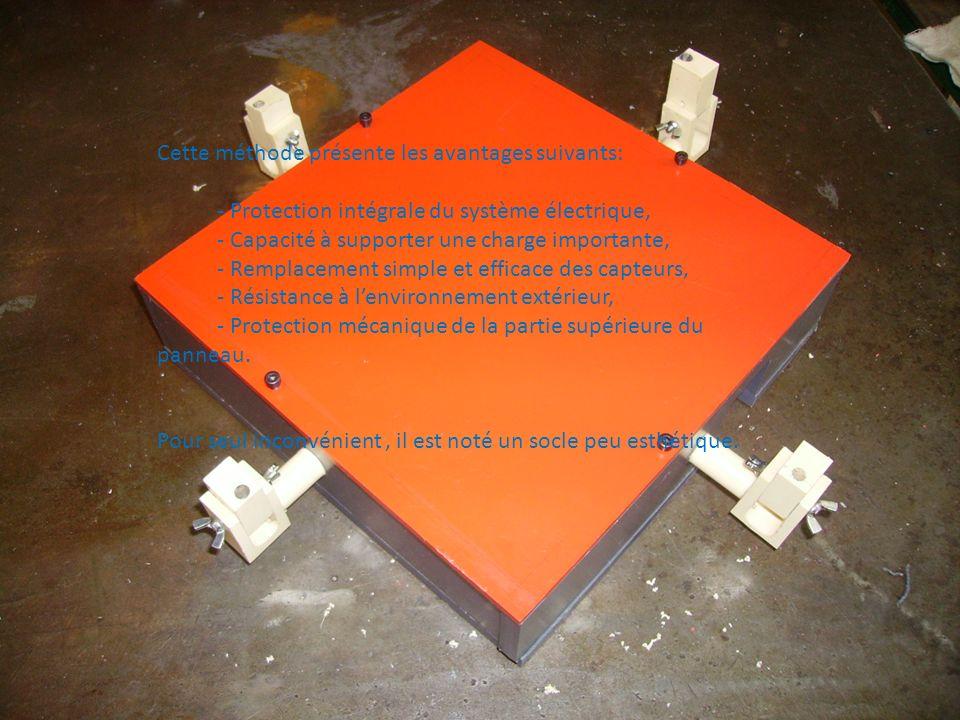 Cette méthode présente les avantages suivants: - Protection intégrale du système électrique, - Capacité à supporter une charge importante, - Remplacem