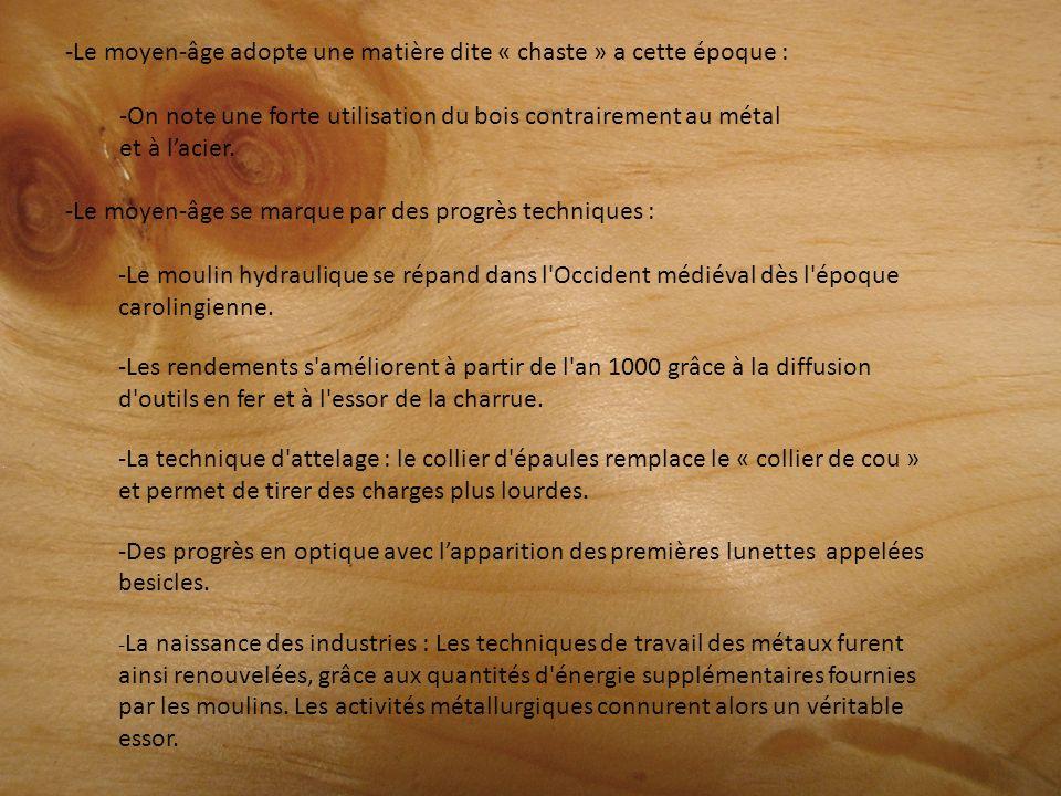 -Le moyen-âge adopte une matière dite « chaste » a cette époque : -On note une forte utilisation du bois contrairement au métal et à lacier. -Le moyen