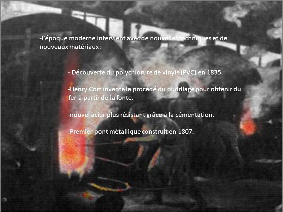 -Lépoque moderne intervient avec de nouvelles techniques et de nouveaux matériaux : - Découverte du polychlorure de vinyle (PVC) en 1835. -Henry Cort