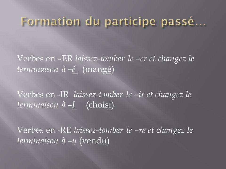 Verbes en –ER laissez-tomber le –er et changez le terminaison à –é (mangé) Verbes en -IR laissez-tomber le –ir et changez le terminaison à –I (choisi) Verbes en -RE laissez-tomber le –re et changez le terminaison à –u (vendu)