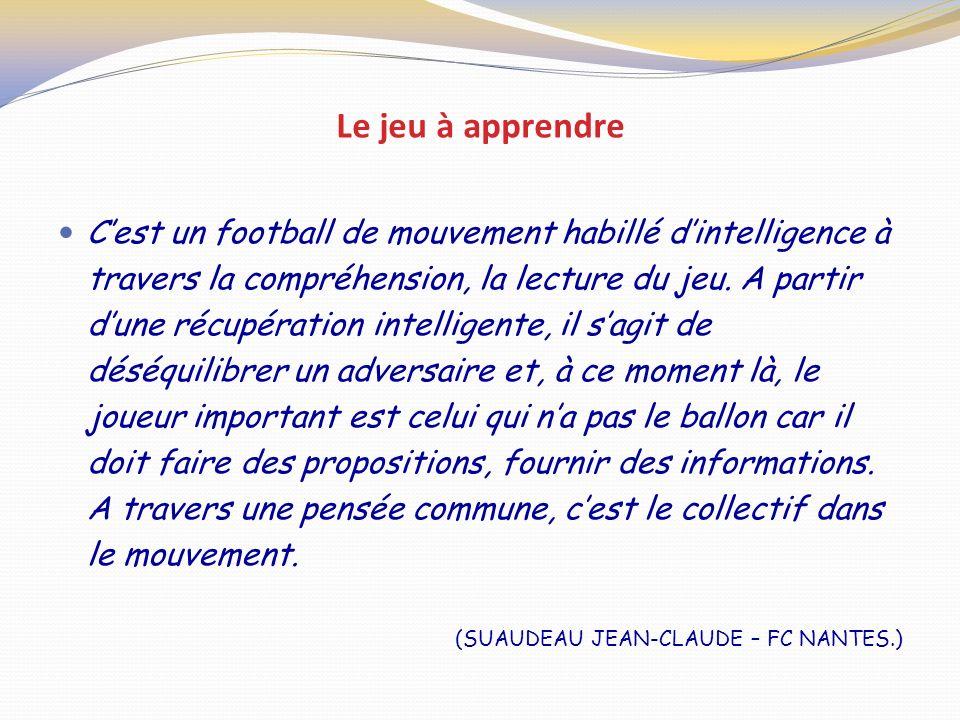 Le jeu à apprendre Cest un football de mouvement habillé dintelligence à travers la compréhension, la lecture du jeu. A partir dune récupération intel