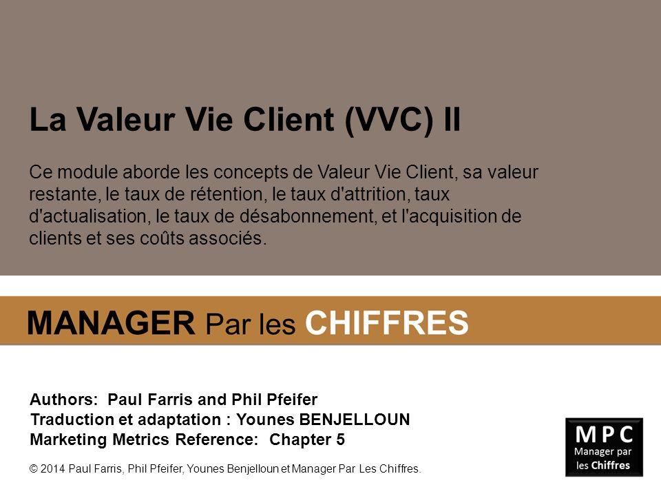 La Valeur Vie Client (VVC) II Ce module aborde les concepts de Valeur Vie Client, sa valeur restante, le taux de rétention, le taux d'attrition, taux
