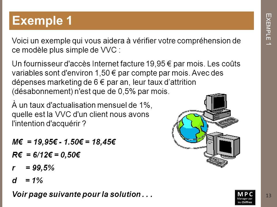 Exemple 1 E XEMPLE 1 Un fournisseur d'accès Internet facture 19,95 par mois. Les coûts variables sont d'environ 1,50 par compte par mois. Avec des dép