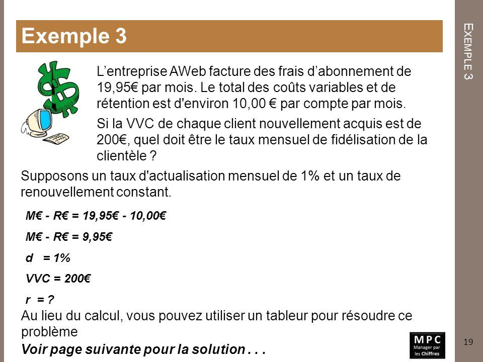 E XEMPLE 3 Exemple 3 Lentreprise AWeb facture des frais dabonnement de 19,95 par mois. Le total des coûts variables et de rétention est d'environ 10,0
