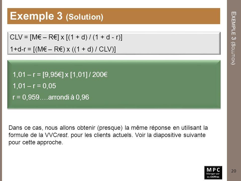 E XEMPLE 3 (S OLUTION ) Exemple 3 (Solution) 1,01 – r = [9,95] x [1,01] / 200 1,01 – r = 0,05 r = 0,959….arrondi à 0,96 20 CLV = [M – R] x [(1 + d) /