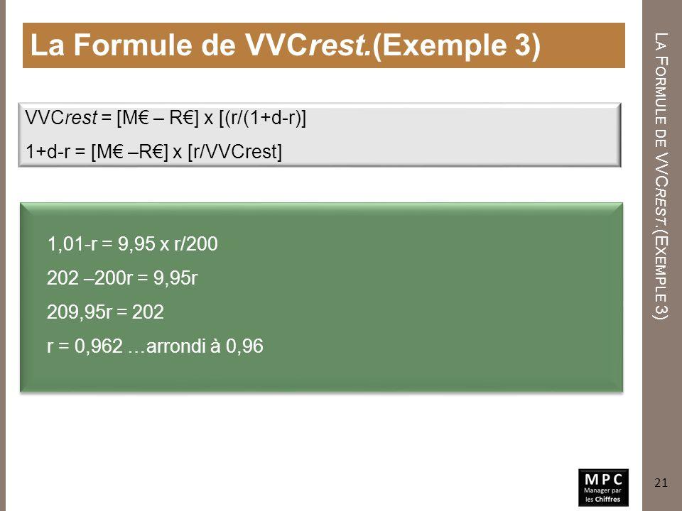 L A F ORMULE DE VVC REST. (E XEMPLE 3) La Formule de VVCrest.(Exemple 3) 21 VVCrest = [M – R] x [(r/(1+d-r)] 1+d-r = [M –R] x [r/VVCrest] 1,01-r = 9,9