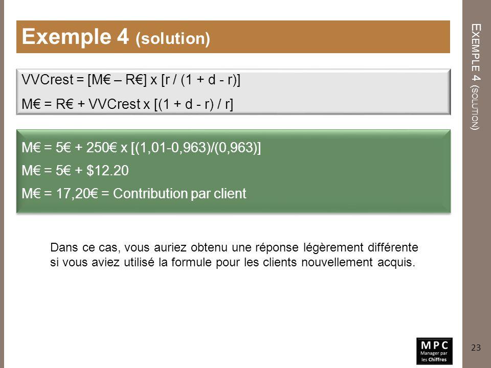 E XEMPLE 4 ( SOLUTION ) Exemple 4 (solution) M = 5 + 250 x [(1,01-0,963)/(0,963)] M = 5 + $12.20 M = 17,20 = Contribution par client VVCrest = [M – R]