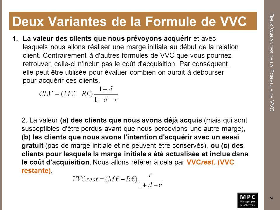 A UTRES R EMARQUES SUR LA VVC Autres Remarques sur la VVC 1.Veillez à utiliser des périodes équivalentes pour le taux de rétention, les marges, les dépenses de rétention et les taux d actualisation.