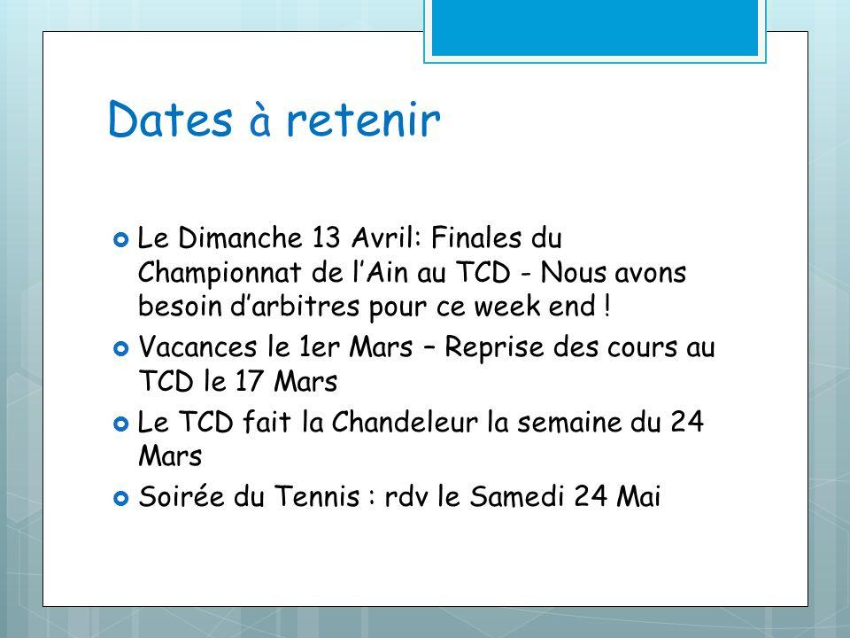 Dates à retenir Le Dimanche 13 Avril: Finales du Championnat de lAin au TCD - Nous avons besoin darbitres pour ce week end ! Vacances le 1er Mars – Re