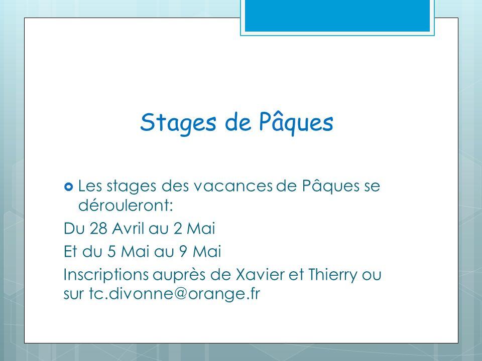 Stages de Pâques Les stages des vacances de Pâques se dérouleront: Du 28 Avril au 2 Mai Et du 5 Mai au 9 Mai Inscriptions auprès de Xavier et Thierry