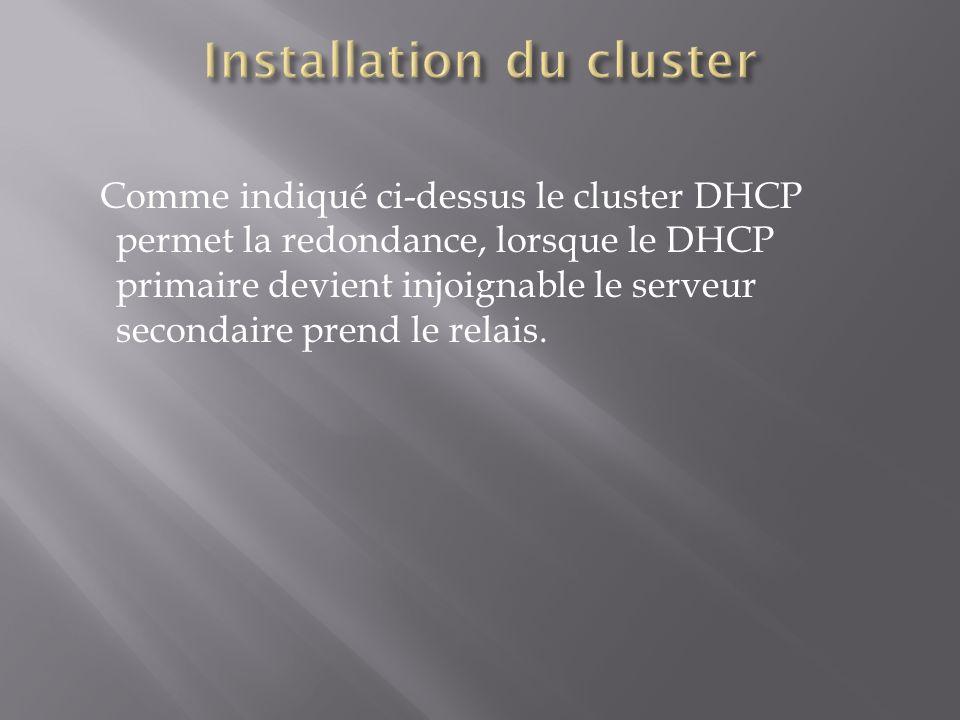 Comme indiqué ci-dessus le cluster DHCP permet la redondance, lorsque le DHCP primaire devient injoignable le serveur secondaire prend le relais.