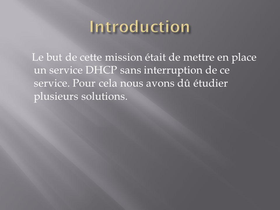 Le but de cette mission était de mettre en place un service DHCP sans interruption de ce service. Pour cela nous avons dû étudier plusieurs solutions.