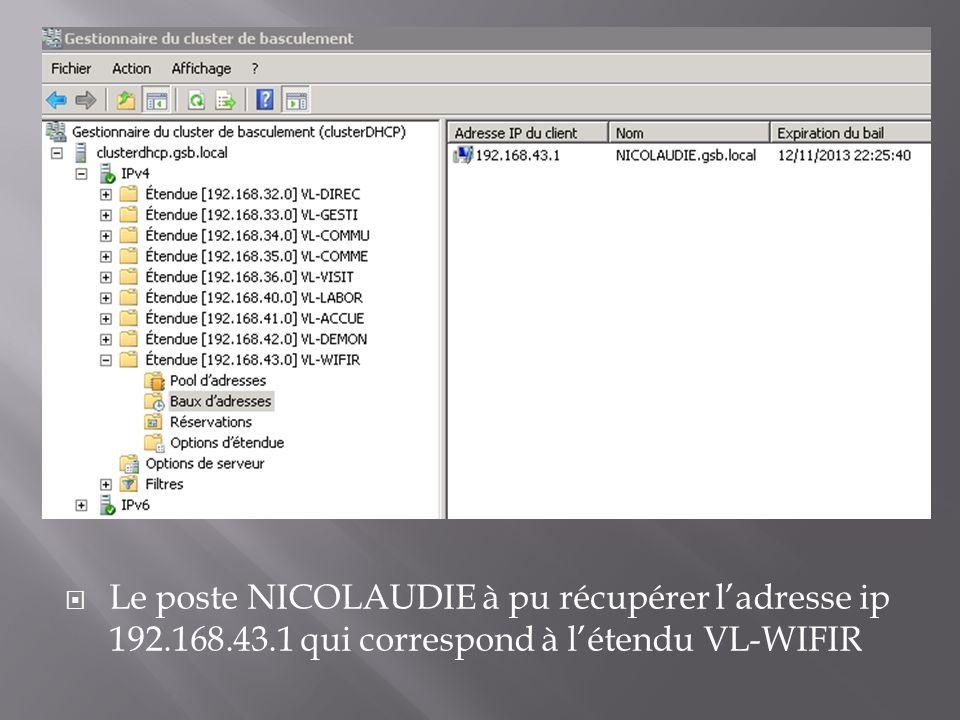 Le poste NICOLAUDIE à pu récupérer ladresse ip 192.168.43.1 qui correspond à létendu VL-WIFIR