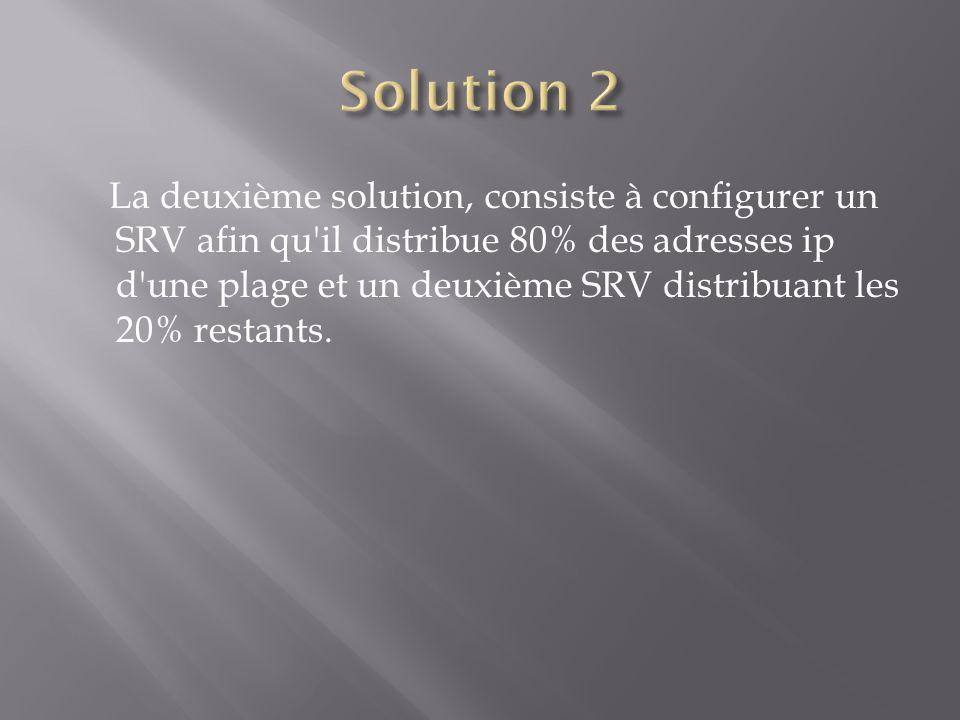 La deuxième solution, consiste à configurer un SRV afin qu'il distribue 80% des adresses ip d'une plage et un deuxième SRV distribuant les 20% restant