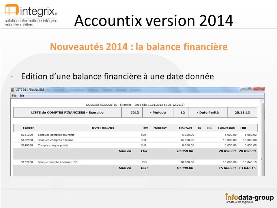 Accountix version 2014 Nouveautés 2014 : la balance financière -Edition dune balance financière à une date donnée