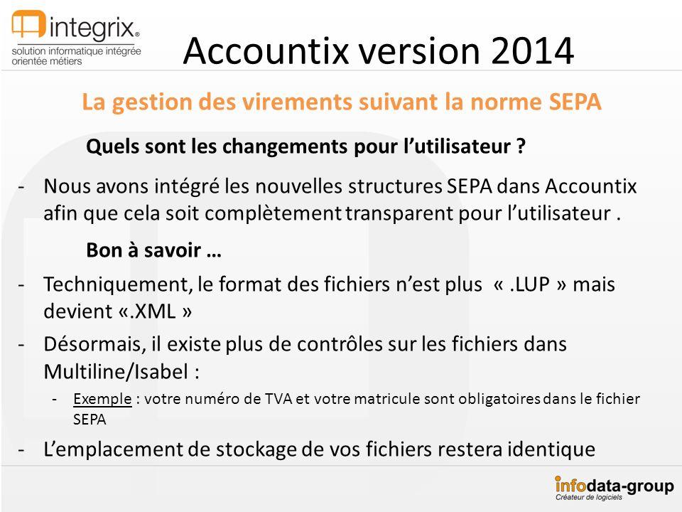 Accountix version 2014 La gestion des virements suivant la norme SEPA Quels sont les changements pour lutilisateur ? -Nous avons intégré les nouvelles