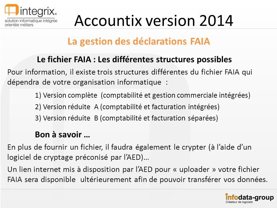 Accountix version 2014 La gestion des déclarations FAIA Le fichier FAIA : Les différentes structures possibles Pour information, il existe trois struc