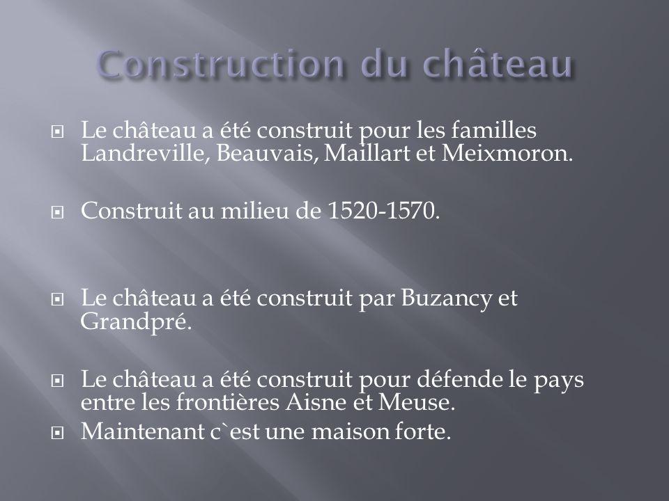 Le château a été construit pour les familles Landreville, Beauvais, Maillart et Meixmoron.