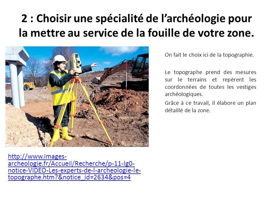 2 : Choisir une spécialité de larchéologie pour la mettre au service de la fouille de votre zone.