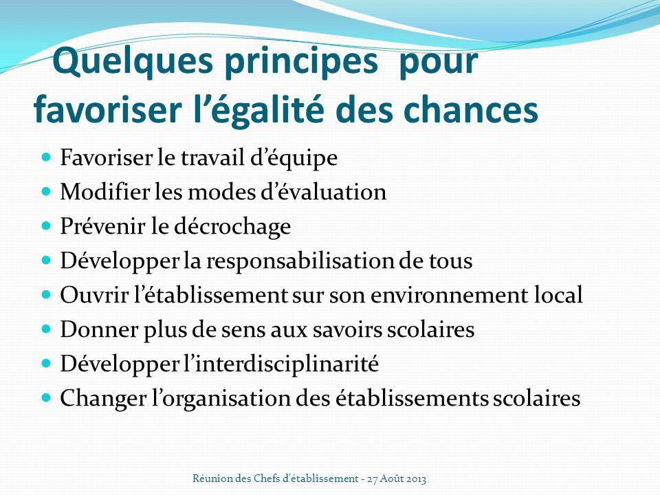 · Quelques principes pour favoriser légalité des chances Favoriser le travail déquipe Modifier les modes dévaluation Prévenir le décrochage Développer