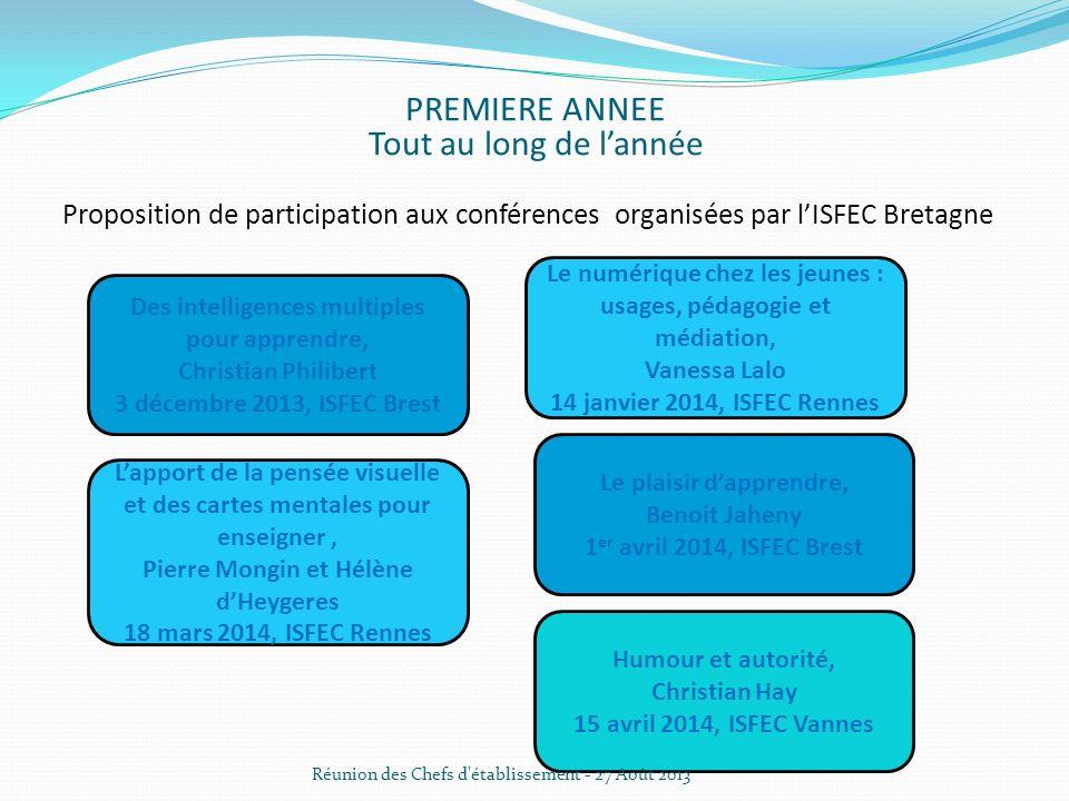 Proposition de participation aux conférences organisées par lISFEC Bretagne PREMIERE ANNEE Tout au long de lannée Des intelligences multiples pour app
