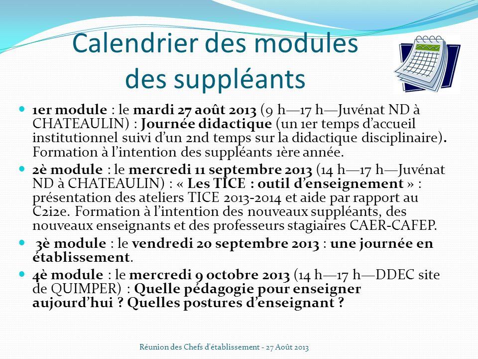 Calendrier des modules des suppléants 1er module : le mardi 27 août 2013 (9 h17 hJuvénat ND à CHATEAULIN) : Journée didactique (un 1er temps daccueil