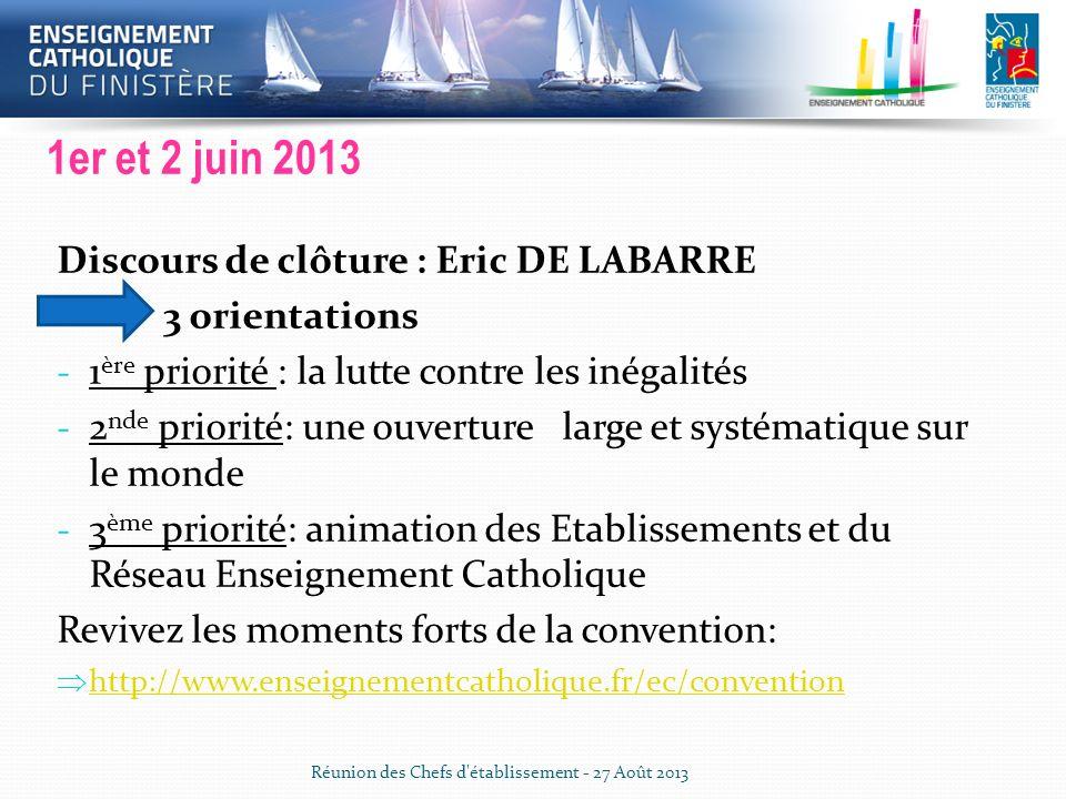 Convention Enseignement Catholique 1er et 2 juin 2013 Discours de clôture : Eric DE LABARRE 3 orientations - 1 ère priorité : la lutte contre les inég