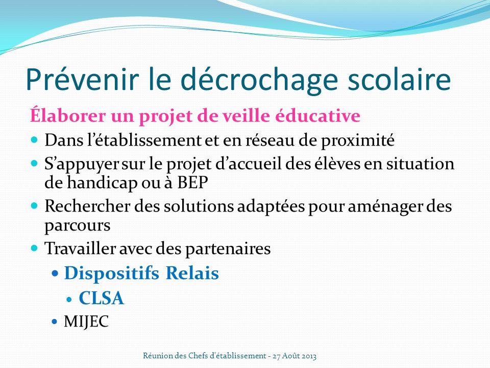 Prévenir le décrochage scolaire Élaborer un projet de veille éducative Dans létablissement et en réseau de proximité Sappuyer sur le projet daccueil d