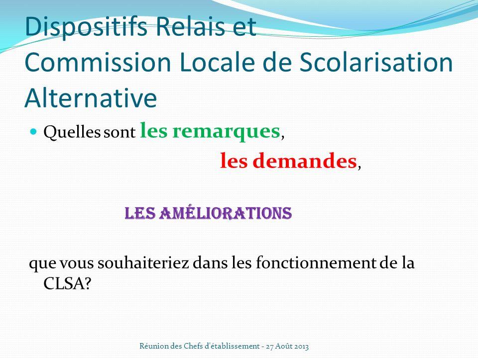 Dispositifs Relais et Commission Locale de Scolarisation Alternative Quelles sont les remarques, les demandes, les améliorations que vous souhaiteriez