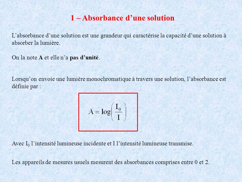 1 – Absorbance dune solution Labsorbance dune solution est une grandeur qui caractérise la capacité dune solution à absorber la lumière.