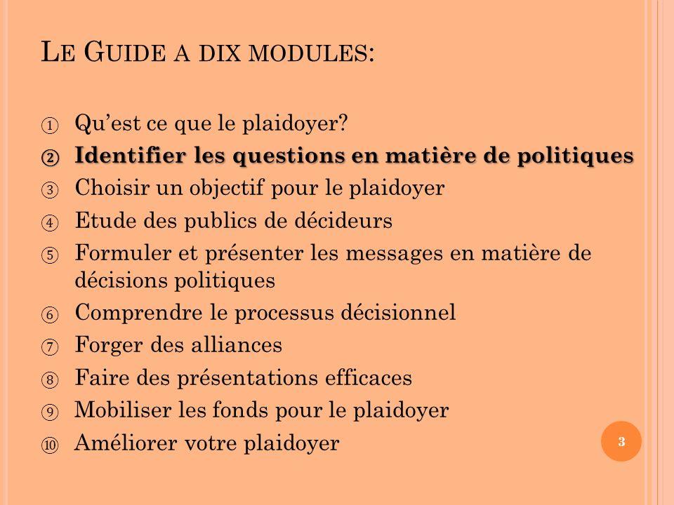 L E G UIDE A DIX MODULES : Quest ce que le plaidoyer? Identifier les questions en matière de politiques Identifier les questions en matière de politiq