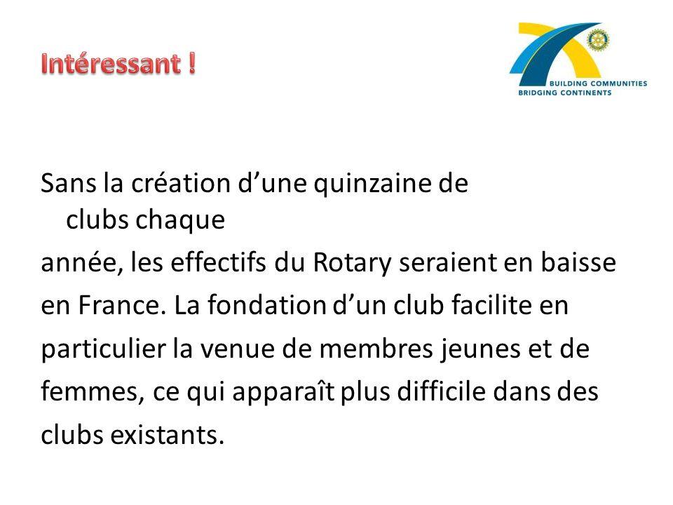 Sans la création dune quinzaine de clubs chaque année, les effectifs du Rotary seraient en baisse en France. La fondation dun club facilite en particu