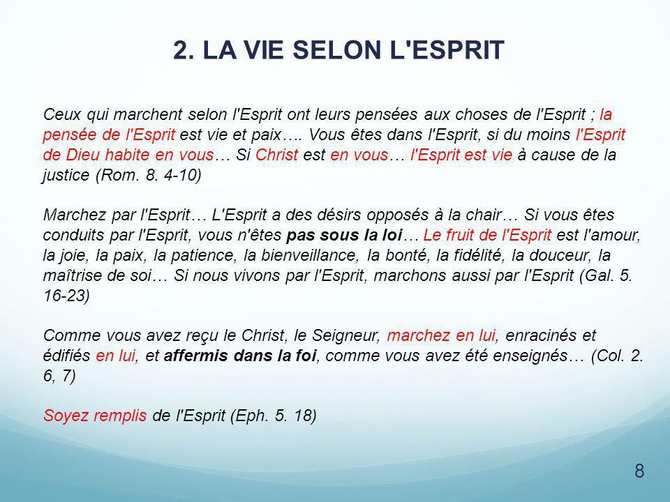 2. LA VIE SELON L'ESPRIT 8 Ceux qui marchent selon l'Esprit ont leurs pensées aux choses de l'Esprit ; la pensée de l'Esprit est vie et paix…. Vous êt
