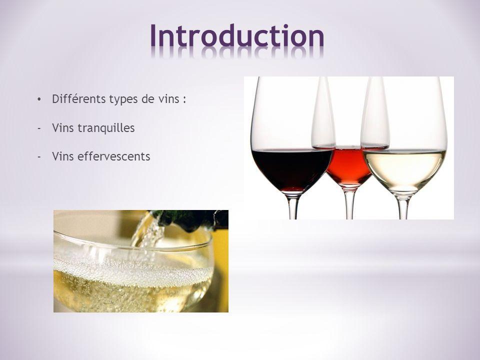 Différents types de vins : -Vins tranquilles -Vins effervescents