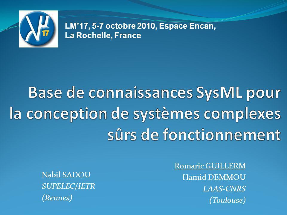 Romaric GUILLERM Hamid DEMMOU LAAS-CNRS (Toulouse) Nabil SADOU SUPELEC/IETR (Rennes) LM17, 5-7 octobre 2010, Espace Encan, La Rochelle, France
