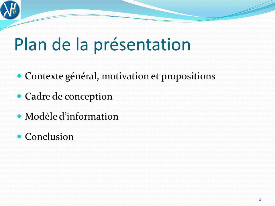 Plan de la présentation Contexte général, motivation et propositions Cadre de conception Modèle dinformation Conclusion 2