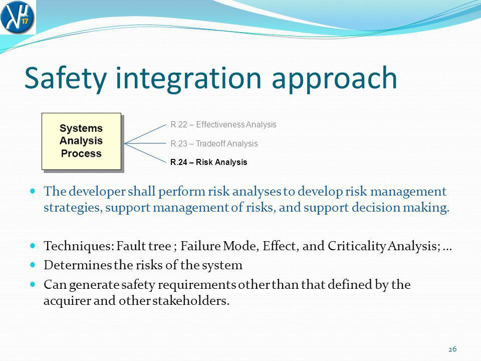 Safety integration approach 26 R.22 – Effectiveness Analysis R.23 – Tradeoff Analysis R.24 – Risk Analysis The developer shall perform risk analyses to develop risk management strategies, support management of risks, and support decision making.