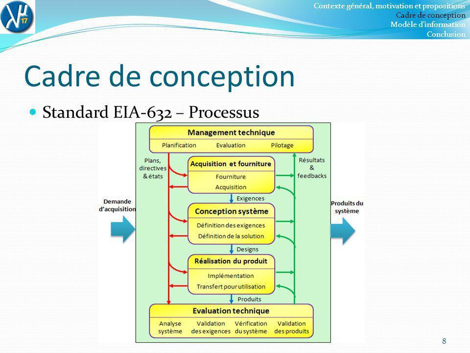 Cadre de conception Standard EIA-632 – Processus 8 Contexte général, motivation et propositions Cadre de conception Modèle dinformation Conclusion