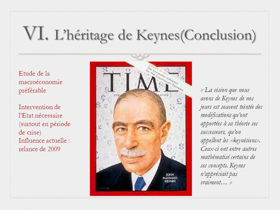 VI. Lhéritage de Keynes(Conclusion) « La vision que nous avons de Keynes de nos jours est souvent teintée des modifications quont apportées à sa théor