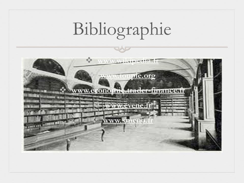 Bibliographie www.wikipedia.fr www.toupie.org www.economie.trader-finance.fr www.evene.fr www.smeno.fr